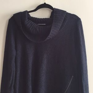 Navy blue cowl neck.
